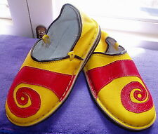 FUNKY LEATHER MOROCCAN BABOUCHE SLIPPERS 9/43 YELLOW