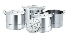 New JARHILL 15, 11, 8 and 6 Quart Stainless Steel Stock Steamer Pots w/ lids