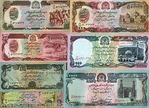 AFGHANISTAN SET 10 20 50 100 500 1000 5000 10000 AFGHANI UNC ANIMAL MONEY 8 NOTE