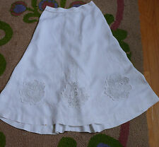 Edwardian  Art Nouveau Titanic  Skirt  White  Linen Embroidered Lace Inserts