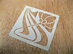 Art Nouveau Style Flower No.3 Tile Crafting Stencil 10cm or 15cm Reusable Mylar