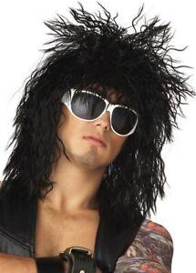 Rockin Dude 1980s Punk Black Hard Rock Star Heavy Metal Men Costume Wig