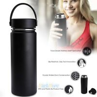 18oz Double Wall Vacuum Insulated Water Bottle Stainless Steel Leak Proof Black