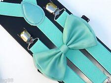 New Teal Mint Green Bow Tie & Suspender Set- Adjustable Bow Tie & Suspenders