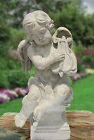 "29""H Cherub With Harp Decorative Garden Statue Stone"