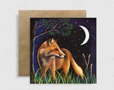 "Fox Moonlight Greeting Card By Wildlife Artist Sarah Featherstone 6x6"" Blank,Art"