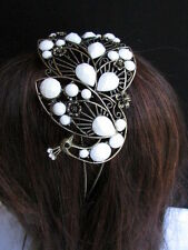 Women Headband Hair Fashion White Beads Rhinestones Big Peacock Gold Accessories