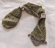 Antique victorian coupe en acier à perles en mailles vert sac à main stockage misers c1840