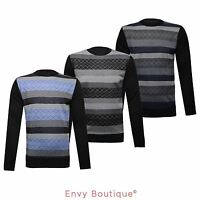 MENS CREW NECK DIAMOND KNITTED SWEATER PULLOVER RETRO VINTAGE KNIT JUMPER