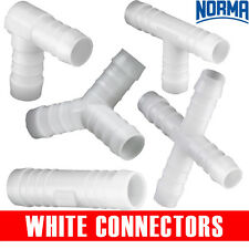 PLASTIC WHITE HOSE CONNECTORS  - NORMA | BARBED | HOSE | WATER |