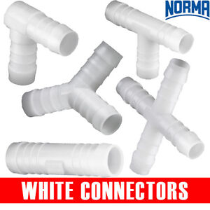 PLASTIC WHITE HOSE CONNECTORS  - NORMA   BARBED   HOSE   WATER  