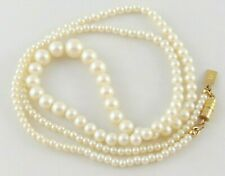 "1928 JEWELRY CO. GRADUATED FAUX PEARL NECKLACE 24"" GOLD TONE BARREL SIGNED EUC"