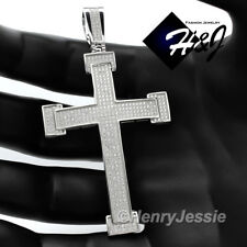 MEN 925 STERLING SILVER LAB DIAMOND ICED OUT BLING CROSS CHARM PENDANT*SP15
