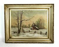 Antique 19th Century Landscape Oil Painting Folk Art Winter Scene Cabin Sunset