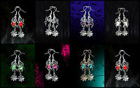VINTAGE STYLE CRYSTAL RHINESTONE SILVER HALLOWEEN SPIDER WEB DANGLE EARRINGS