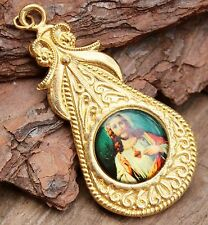 Vintage Jesus Pendant Costume Jewellery Retro 1970s Religious Kitsch Fancy Gold