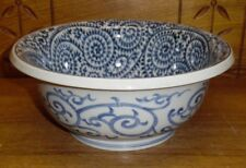 Contemporary Oriental Porcelain Decorative Blue & White Bowl - 10""