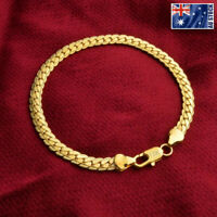"""18K Yellow Gold Plated 5MM Flat Curb Chain Solid Link Bracelet Mens & Womens 8"""""""
