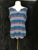 Kim Rogers Sleeveless Abstract Tribal Print Stretch Tank - Size M