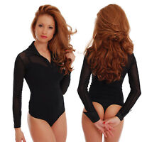 Cotton Women Bodysuit Long Sleeve Collar Open Neck Thong Body Leotard lady 1470