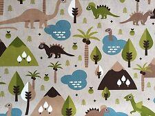 Dinosaur Linen Look Cotton Blend Fabric **Prehistoric Jurassic Baby Dinosaur**