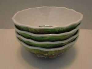 """222 Fifth Sage Boat 6"""" Cereal Bowls 100% Melamine Set of 4 NEW"""