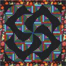 Easy Quilt Kit/Spiral Log/Pre-cut Fabrics Ready To Sew/Batik Tonal Prints/Black