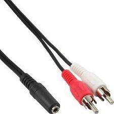 2 m Audio Klinke Cinch Kabel 2 Chinch Stecker auf 3,5 mm Klinke Buchse  #109