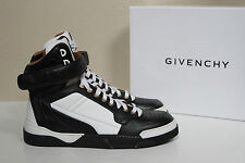 New sz 9 / 39 Givenchy High Top Calfskin Black & White Leather Sneakers Shoes