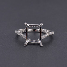 8x10mm Emerald Cut Solid 14k White Gold  Natural Diamond Semi Mount Ring Setting