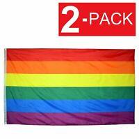 2-Pack Rainbow Flag 3' x 5' Gay Lesbian Pride LGBT Polyester