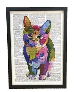 A3 Cat Framed Dictionary Page Print Art Picture Animal Kitten Geometric Funky