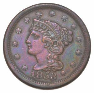 Sharp - 1853 Braided Hair Large Cent - HIGH GRADE *104