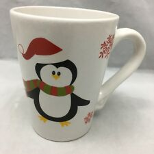 Holiday Penguin Coffee Mug Red Santa Hat Snowflakes White Ceramic Cup 2011