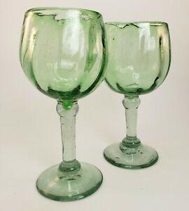 Studio Art Glass Goblet Lot 2 Hand Blown Green Recycle Bubble Artisan Wine Water