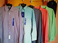 NWT NEW mens APT 9 premier flex stretch collar slim fit dress shirt l/s $45