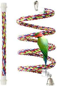 Ideal for Relaxing Improves Balance Rope Perch for Parrots Bungee Bird Toy Brightly Colored Handmade Chew Toy Coordination and Agility Cage Swing and Climbing Stand Bar with Bell