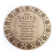 Wooden Santa Treat Plate Christmas Eve Xmas Platter Board Quote Gifts Keepsake