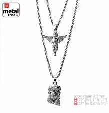 "Men's Solid Silver Plated Jesus & Angel 22""/27"" Combo Pendant Necklace MHC 202 S"
