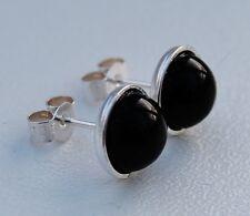 Black Onyx 8mm Cabochon Gemstones In Sterling Silver 925 Bezel Ear Studs.
