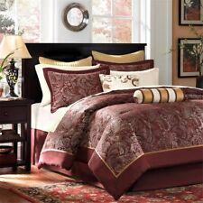 Luxury 12pc Burnt Red & Gold Jacquard Weave Comforter Set AND Sheet Set