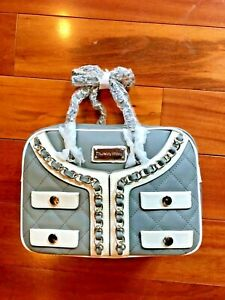 NWT Light Gray Grey Leather Satchel Thursday Friday Couture Purse $175 Retail