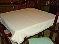 Vintage Ivory Square Tablecloth - Handmade - Lace Trim