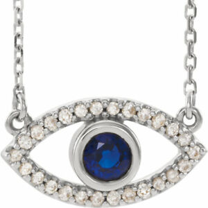 Blue Sapphire & White Sapphire Evil Eye Necklace In Platinum
