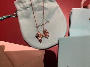 Tiffany & Co Silver Vintage Large Bow Ribbon Pendant Necklace 18.75""