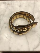 "Burberry ""Karen"" Brown Leather Studded Double Wrap Bracelet"