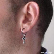 Silver Earring Gothic Pendant Huggie Hoop Cross Earring For Men. Black Sterling
