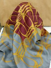 Vintage Gucci Scarf- Gold Chain Link Grey Burgandy  100% Silk 34""