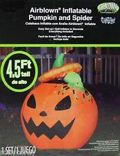 Halloween 4.5 ft Lights Up Pumpkin & Spider Jack O Lantern Airblown Inflatable