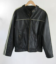 Arizona Jeans Faux Leather Black Quilted Lining Cafe Motorcycle Jacket Sz XL